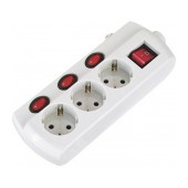 Power Strip GS-3K3 with 3 Schuko with independent switches and a Master On/Off Button and 1.5 m. Cable (230V-16A 3680W)