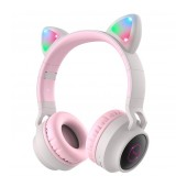Wireless Headphone Stereo Hoco W27 Cat ear Pink Grey 300mAh With Micro SD and AUX
