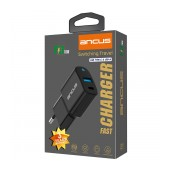 Travel Charger Ancus Supreme Series Dual with USB and USB-C PD 18W 5V/3.4A Black with LED indicator