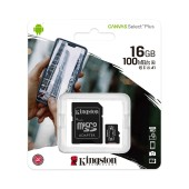 Flash Memory Card Kingston Canvas Select Plus MicroSDHC 16GB UHS-1 Class 10 with SD Adapter up to 100MB/s
