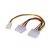 Adapter with Power Cable Akyga AK-CA-35 Molex Male / 3 pin 12V Male / Molex Female 2x 15cm