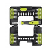 Screwdriver Goobay Precision 37 pcs Set. Star, Philips, Triangle. Black-Green