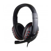 Stereo Headphone Noozy GH-35 of double 3.5mm connector for Gamers with Microphone and Volume Control Black-Red