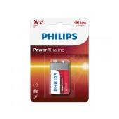 Battery Philips Power Alkaline 6LR61 size 9V Psc. 1