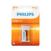 Battery Zinc Carbon Philips LongLife 6LR61 size 9V Psc. 1