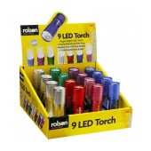 Torch Rolson LED with Batteries. Silver 16pcs