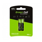 Rechargeable Battery Green Cell 800 mAh size AAA HR03 1.2V Pcs 2
