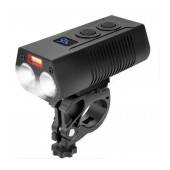 Bicycle Light Ancus LR-Y18A with Dual LED Light 750LM IP65 and Red Auxiliary, 4 Brightness Levels and Display Screen. Black