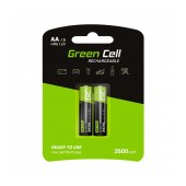 Rechargeable Battery Green Cell HR6 2600 mAh size AA 1.2V Pcs 2