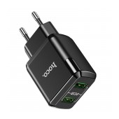 Travel Charger Hoco N6 Charmer Dual Port Charging USB Quick Charge 18W 5V 3.0A Black