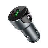 Car Charger Hoco Z42 Light Road USB QC3.0A 18W and USB-C PD 20W QC3.0A with LED Metal Gray