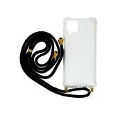 Case Ancus Crossbody for Samsung SM-A125F Galaxy A12 Transparent with BlackStrap