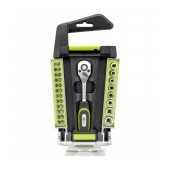 Screwdriver and Ratchet Goobay 33 pcs Σet. Star, Philips, Triangle with Carrying Case Black-Green