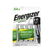 Rechargeable Battery Energizer ACCU Recharge Universal 1300 mAh size AA 1.2V Pcs 4