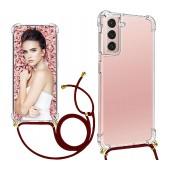 Case Ancus Crossbody for Samsung SM-G990F Galaxy S21 / SM-G991B Galaxy S21 5G Transparent with Bordeaux Strap