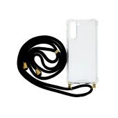 Case Ancus Crossbody for Samsung SM-G990F Galaxy S21 / SM-G991B Galaxy S21 5G Transparent with Black Strap