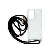 Case Ancus Crossbody for Samsung SM-G998B Galaxy S21 Ultra 5G Transparent with Black Strap