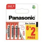 Battery Zinc Carbon Panasonic size AAA 1.5V Pcs, 6+2