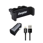 Car Charger Energizer 3.4A with Micro Lightning 1m Black Apple Certified MFI