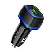 Car Charger Borofone BZ14A Mercury Dual USB-C PD 20W και USB QC 3.0A Black with LED