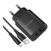 Travel Charger Borofone BN2 Super Fast Dual USB 5V 2.1A with Micro-USB Charging Cable 1m Black