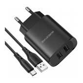 Travel Charger Borofone BN2 Super Fast Dual USB 5V 2.1A with USB-C Charging Cable 1m Black