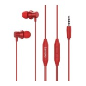 Hands Free Lenovo HF130 Earphones Stereo 3.5mm with Micrphone and Operation Control Button Red