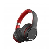 Wireless Stereo Headphone Lenovo HD200 V.5.0 with Microphone, AUX port, Control Buttons & 20 hrs Playtime Black-Red