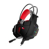 Stereo Gaming Headphone Lenovo HU85 3.5mm with Microphone, Volume Control and RGB Light Black-Red