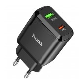 Travel Charger Hoco N5 Favor Dual Port Charging USB Quick Charge 18W and USB-C PD 20W 5V 3.0A Black