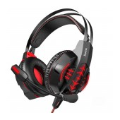 Stereo Gaming Headphone W102 Cool Tour 3.5mm and USB connection with Microphone and LED Light Black-Red