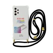 Case Ancus Crossbody for Samsung SM-A325F Galaxy A32 Transparent with Black Strap