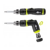 Electric Screwdriver Goobay 13 pcs Σet. Star, Philips, Triangle Magnetic with 6 bit Handle Black-Green