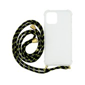 Case Ancus Crossbody for Apple iPhone 12, iPhone 12 Pro Transparent with Yellow-Black Strap