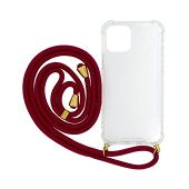 Case Ancus Crossbody for Apple iPhone 12 / iPhone 12 Pro Transparent with Red Strap
