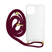 Case Ancus Crossbody for Apple iPhone 12 Mini Transparent with Red Strap