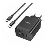 Travel Charger Hoco N18 Fast Charging 65W with 2 x USB-C και 1 x USB-A 5V/3A with cable USB-C 1μ. BLack